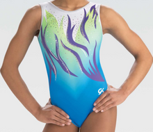 FLOATING WAVES Sublimated Scoop Back Girls' Gymnastics/Dance  Leotard. FREE SHIPPING and Free Scrunchie.
