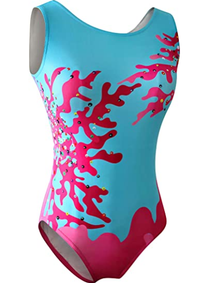 CORAL SEA Girls' Gymnastics Leotard. Turquoise Ocean Blue with PInk Camouflage. FREE SHIPPING.