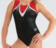 PINNACLE Girls' Gymnastics Leotard: Red and Black Mystique. Free Scrunchie!