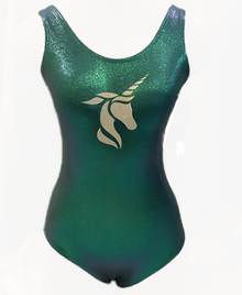 New! EMERALD UNICORN Girls' Gymnastics Leotard.  Turquoise Metallic. FREE SHIPPING and Free Scrunchie!
