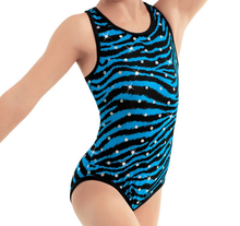 New! ZEBRA BLUE DIAMOND Girls' Dance Leotard.  Black and Blue Zebra with Sequins. FREE Shipping and Free Scrunchie!