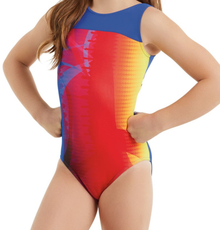 New! TECHNO DREAM Girls' Dance Leotard.  Red, Blue and Yellow. FREE Shipping and Free Scrunchie!