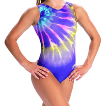 New!  ELECTRIC WATERCOLOR Girls' Gymnastics/Dance Leotard. V-Neck Show Tank. FREE SHIPPING and Free Scrunchie.