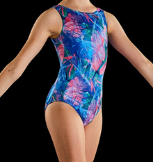 New! WILD ONE Girls' Dance/Gymnastics Leotard.  Blue Floral Print. FREE Shipping and Free Scrunchie!