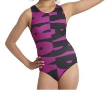 New! WORK HARD Girls' Gymnastics Leotard.  Purple Nylon. FREE Shipping.