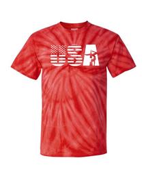 New! GYMNASTICS USA Bold Red Tye-Dye T-Shirt. FREE Shipping!
