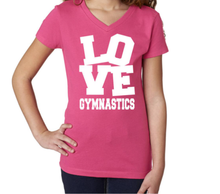New! LOVE GYMNASTICS Adorable Girls' V-neck T-Shirt . FREE Shipping!
