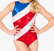 New! AMERICAN SPIRIT  Spectacular Patriotic Red, White and Blue Girl's Mystique Gymnastics Leotard. FREE SHIPPING!