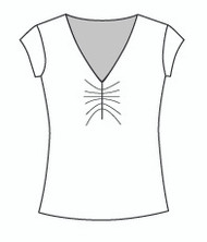 Cap Sleeve Shirred Vee (1101C)