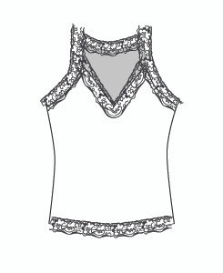 Lace Vee Tank High Back (707)