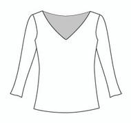 3/4 Sleeve Wide Vee Neck (114Q)