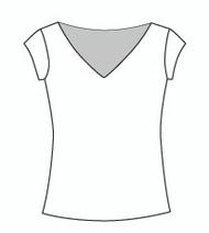 Cap Sleeve Wide Vee Neck (114C)