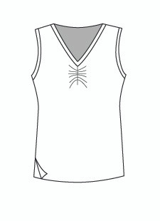 Easy Fit Sleeveless Shirred V Neck (1411T)