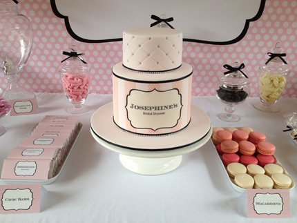 with pink black and white as the primary colors used little dance themed personalised chocolates and backdrop to match the other stationery