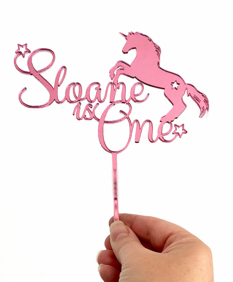 Personalised unicorn birthday cake topper with name and age