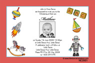 Little Boys Toys Naming Christening & Baptism Invitations