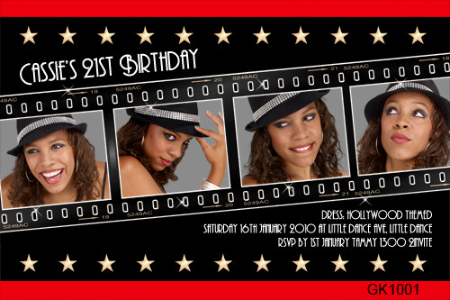 Hollywood Themed Birthday Party Invitations