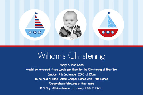 nautical themed christening invitations nautical themed