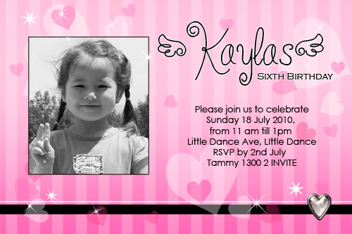 Pink Striped Birthday Party Invitations