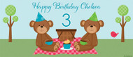 Teddy Bear Picnic Personalised Birthday Party Banner.  Buy online in Australia