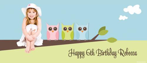 Owl Personalised Birthday Banner.