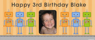 Custom kids party photo banner for sale online - Robots theme