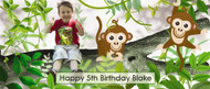 Custom kids party photo welcome poster - buy online - Swinging monkey theme