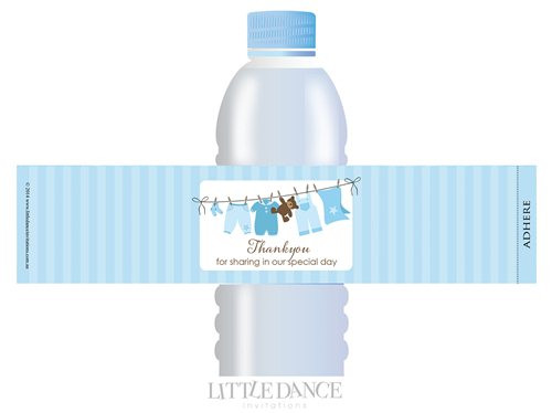 Blue Baby Clothes Line theme personalised & custom baby shower water bottle labels for sale. Order online in Australia