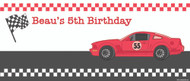 Boys Birthday Banner - Racing Race Car Banner