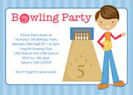 Boys Ten Pin Bowling Birthday Party Invitations