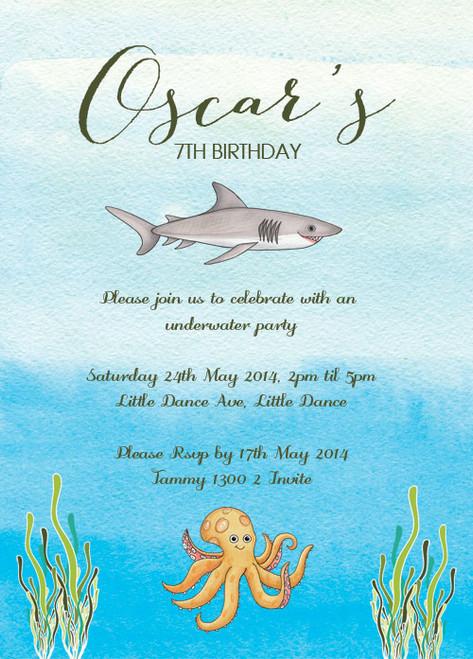 Under the Sea Shark Birthday Party Invitations