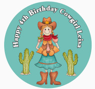 Cowgirl Birthday Cake Icing Sheet