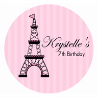 Personalised Paris Eiffel Tower Icing Sheet  - Pink Paris Eiffel Tower Edible Image for Kids Birthday Cake - Cupcake and Cookie Edible Images - Printed in Melbourne Australia
