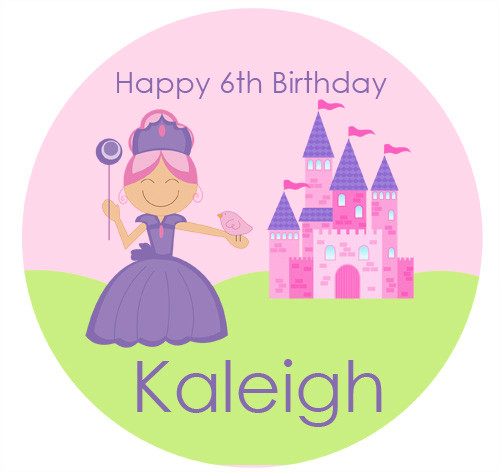 Personalised Princess and Castle Icing Sheet  - Princess and Castle Edible Image for Kids Birthday Cake - Cupcake and Cookie Edible Images - Printed in Melbourne Australia