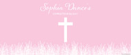 Christening & Baptism Banner - Pink Fields Crucifix