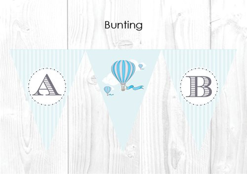 Boys Blue Vintage Hot Air Balloon Christening & Baptism Personalised Bunting Decoration Flags