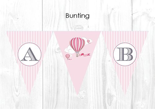 Girls Pink Vintage Hot Air Balloon Christening & Baptism Personalised Bunting Decoration Flags