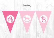 Pink Rocking Horse Christening & Baptism Personalised Bunting Flags