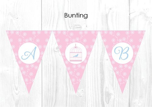 Sweet Bird in a Cage Christening & Baptism Personalised Bunting Flags