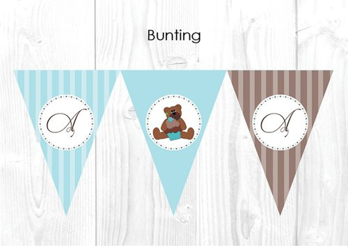 Teddy Bear Christening & Baptism Personalised Bunting Flags