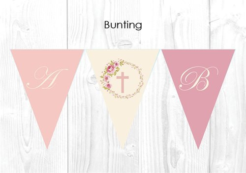 Vintage Floral Christening & Baptism Personalised Bunting Flags
