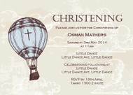 Vintage Hot Air Balloon Christening & Baptism Invitations