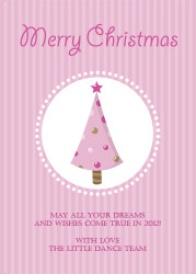 Pink Christmas Tree Christmas Party Invitations and Christmas Greeting Card