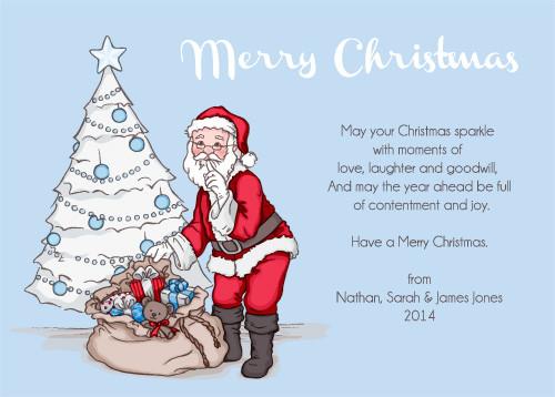 Blue Santa Christmas Cards and Christmas Invitations