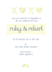 Personalised Engagement Party Invitations - Floral theme with XOX message. Printed in Australia