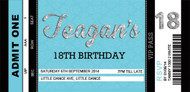 Blue Event Ticket Birthday Party Invitation