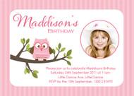 Girls Pink Owl Birthday Party Invitation