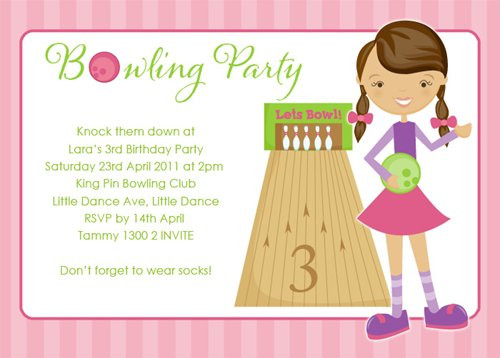 girls bowling party invitations girls bowling themed party invites