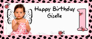 Personalised kids party banner with photo - pink ladybug design. Printed online in Australia