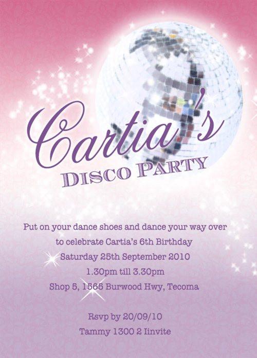 Girls Disco Birthday Party Invitation